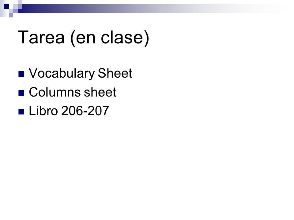 Tarea (en clase) Vocabulary Sheet Columns sheet Libro 206-207