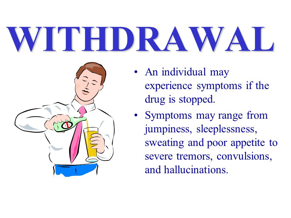 WITHDRAWAL An individual may experience symptoms if the drug is stopped.