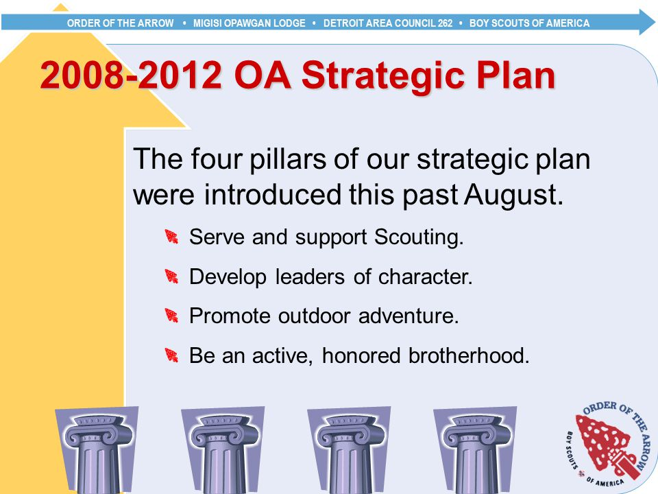 ORDER OF THE ARROW MIGISI OPAWGAN LODGE DETROIT AREA COUNCIL 262 BOY SCOUTS OF AMERICA OA Strategic Plan The four pillars of our strategic plan were introduced this past August.