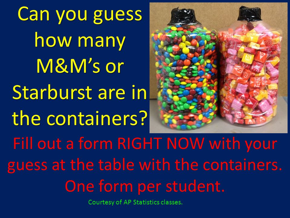 Can you guess how many M&M's or Starburst are in the containers.