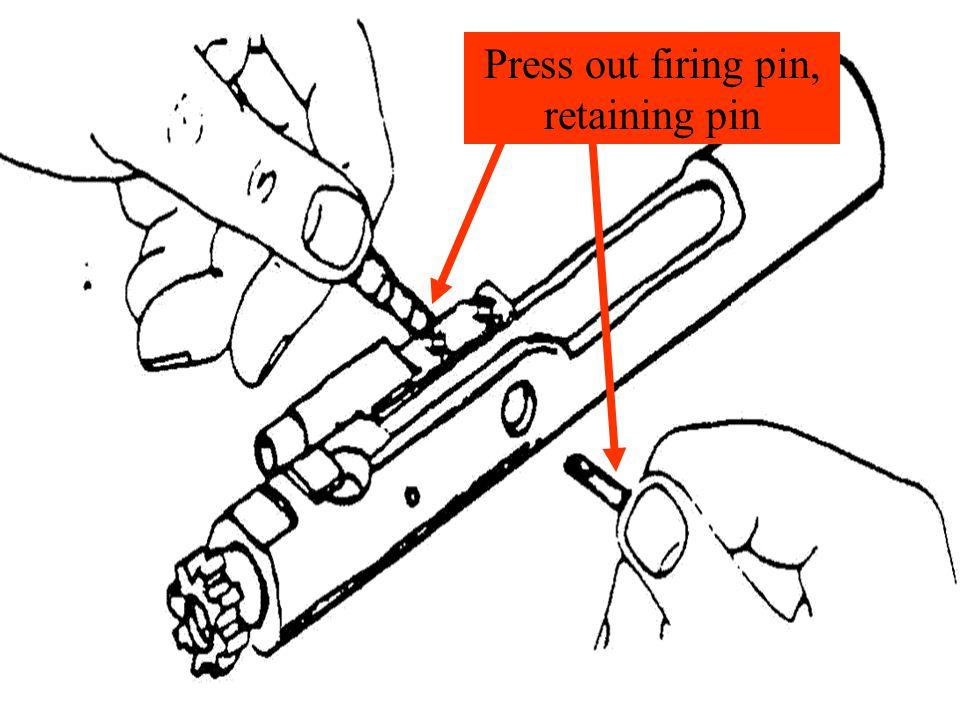 Press out firing pin, retaining pin