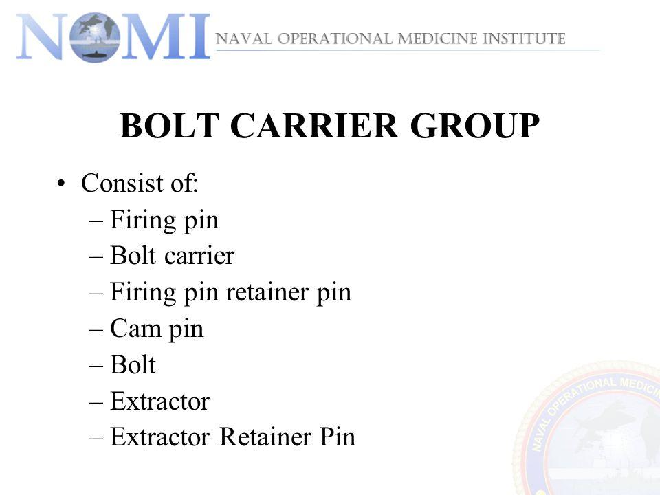 BOLT CARRIER GROUP Consist of: –Firing pin –Bolt carrier –Firing pin retainer pin –Cam pin –Bolt –Extractor –Extractor Retainer Pin