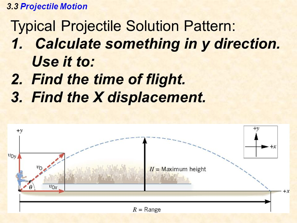 3.3 Projectile Motion Typical Projectile Solution Pattern: 1.Calculate something in y direction.