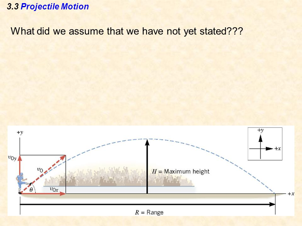 3.3 Projectile Motion What did we assume that we have not yet stated