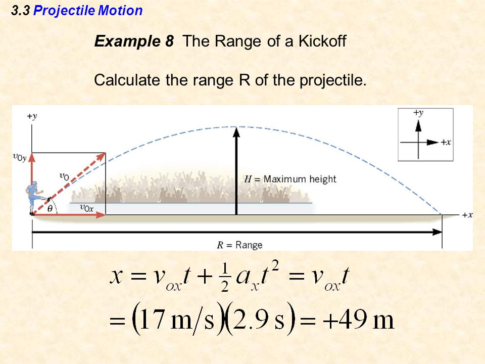 3.3 Projectile Motion Example 8 The Range of a Kickoff Calculate the range R of the projectile.