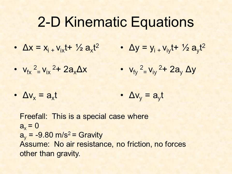 2-D Kinematic Equations Δx = x i + v ix t+ ½ a x t 2 v fx 2 = v ix 2 + 2a x Δx Δv x = a x t Δy = y i + v iy t+ ½ a y t 2 v fy 2 = v iy 2 + 2a y Δy Δv y = a y t Freefall: This is a special case where a x = 0 a y = m/s 2 = Gravity Assume: No air resistance, no friction, no forces other than gravity.