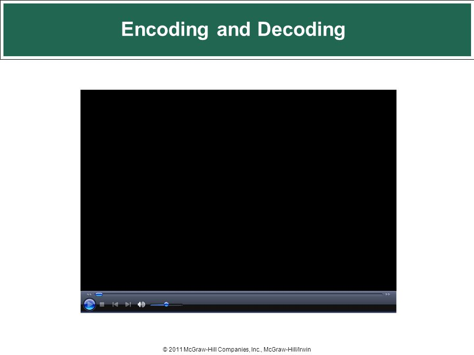 Encoding and Decoding © 2011 McGraw-Hill Companies, Inc., McGraw-Hill/Irwin