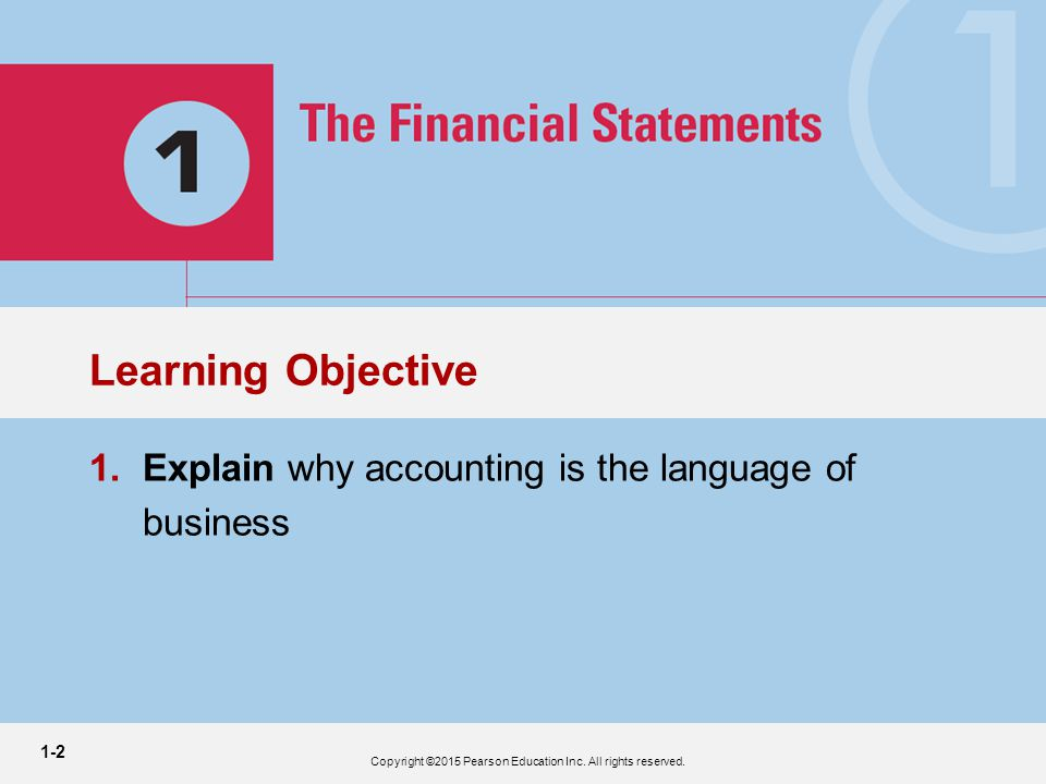 1-2 3 1.Explain why accounting is the language of business Learning Objective Copyright ©2015 Pearson Education Inc.