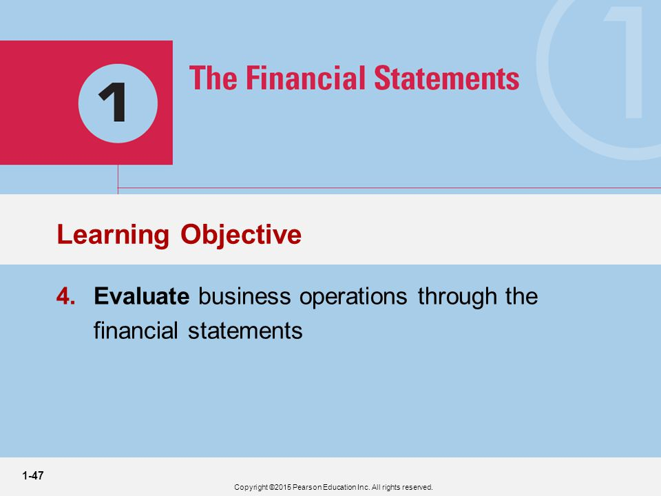 1-47 3 4.Evaluate business operations through the financial statements Learning Objective Copyright ©2015 Pearson Education Inc.