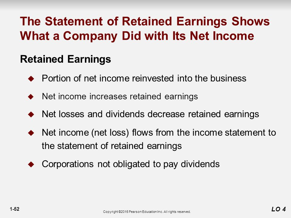 1-52 LO 4 The Statement of Retained Earnings Shows What a Company Did with Its Net Income Retained Earnings  Portion of net income reinvested into the business  Net income increases retained earnings  Net losses and dividends decrease retained earnings  Net income (net loss) flows from the income statement to the statement of retained earnings  Corporations not obligated to pay dividends Copyright ©2015 Pearson Education Inc.