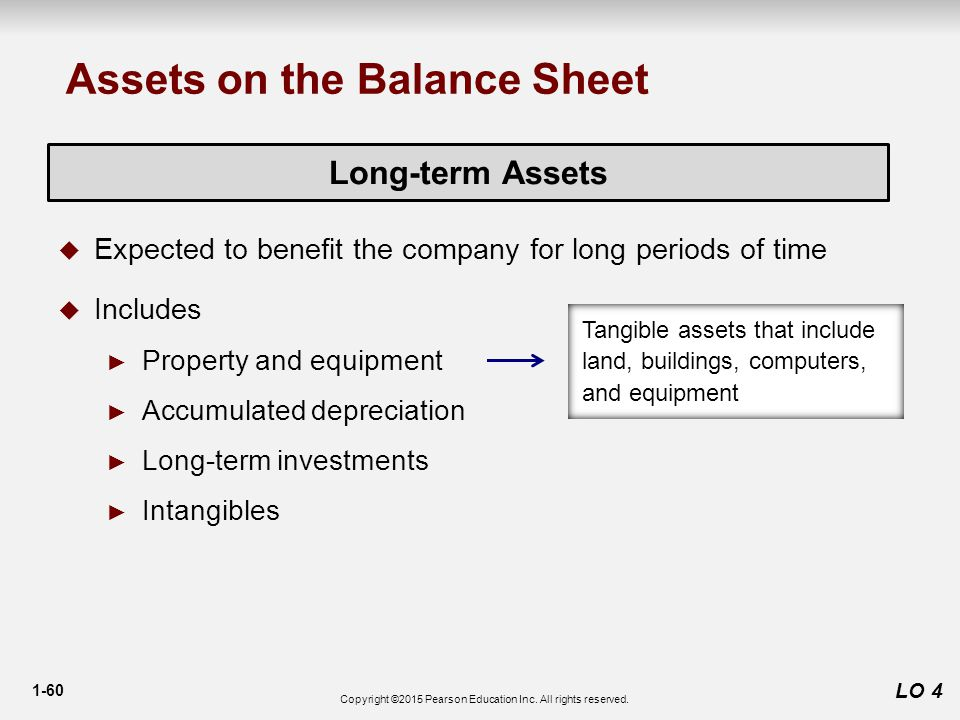 1-60 LO 4 Long-term Assets  Expected to benefit the company for long periods of time  Includes ► Property and equipment ► Accumulated depreciation ► Long-term investments ► Intangibles Assets on the Balance Sheet Tangible assets that include land, buildings, computers, and equipment Copyright ©2015 Pearson Education Inc.