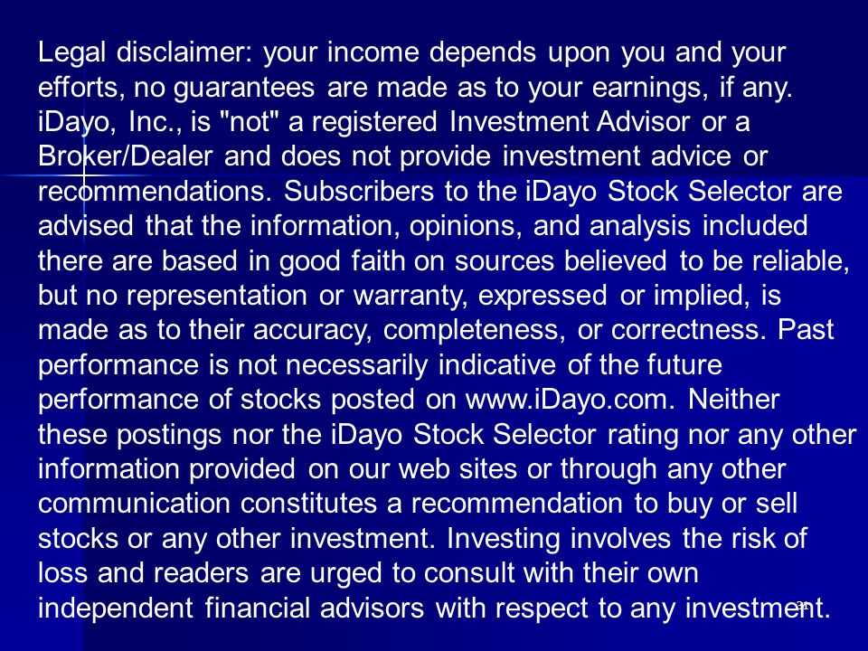 31 Legal disclaimer: your income depends upon you and your efforts, no guarantees are made as to your earnings, if any.