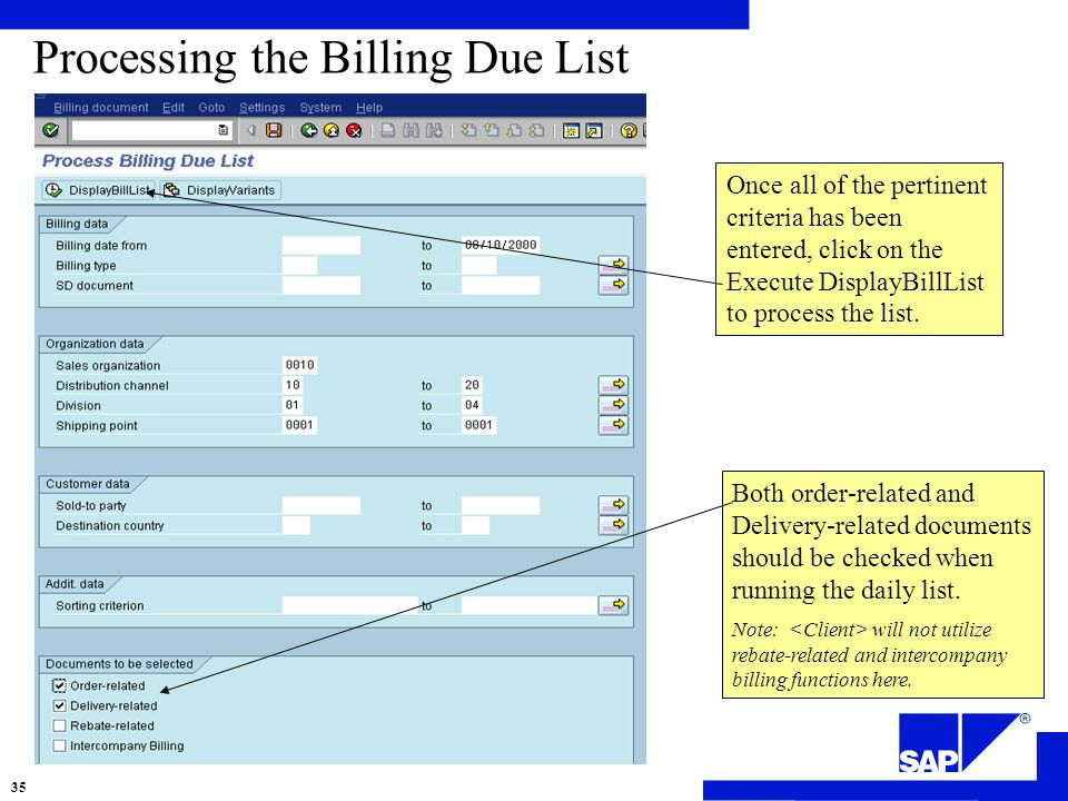 Processing the Billing Due List Once all of the pertinent criteria has been entered, click on the Execute DisplayBillList to process the list.