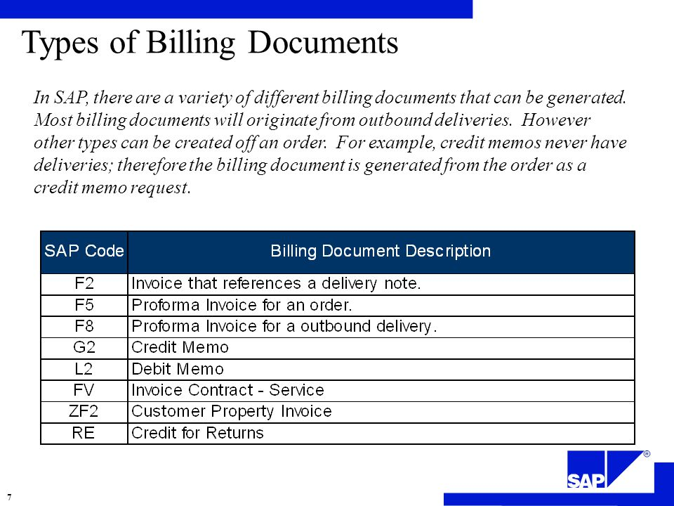 Types of Billing Documents In SAP, there are a variety of different billing documents that can be generated.
