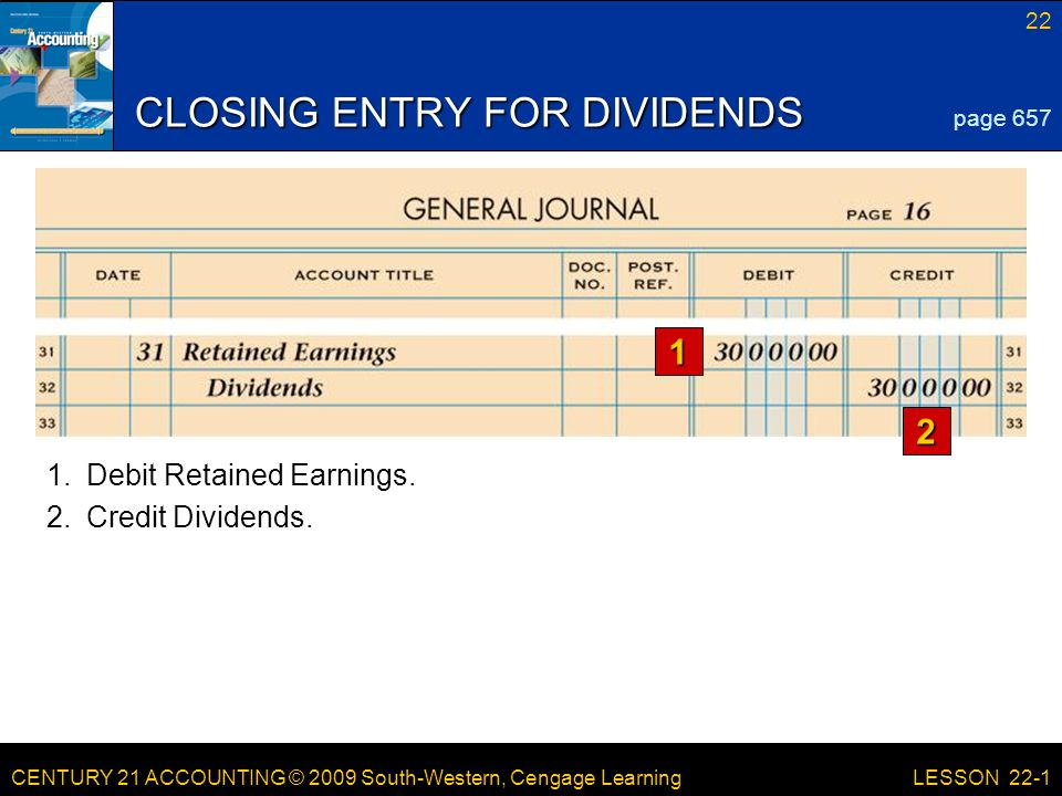 CENTURY 21 ACCOUNTING © 2009 South-Western, Cengage Learning 22 LESSON 22-1 CLOSING ENTRY FOR DIVIDENDS 1 2 page Credit Dividends.