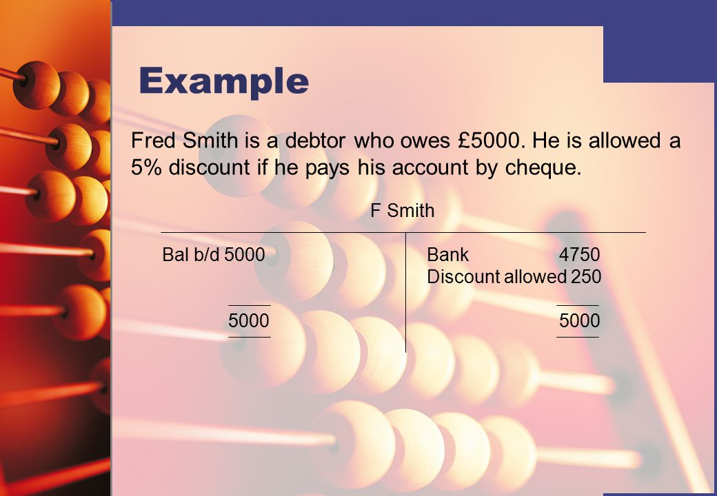 Example Fred Smith is a debtor who owes £5000.