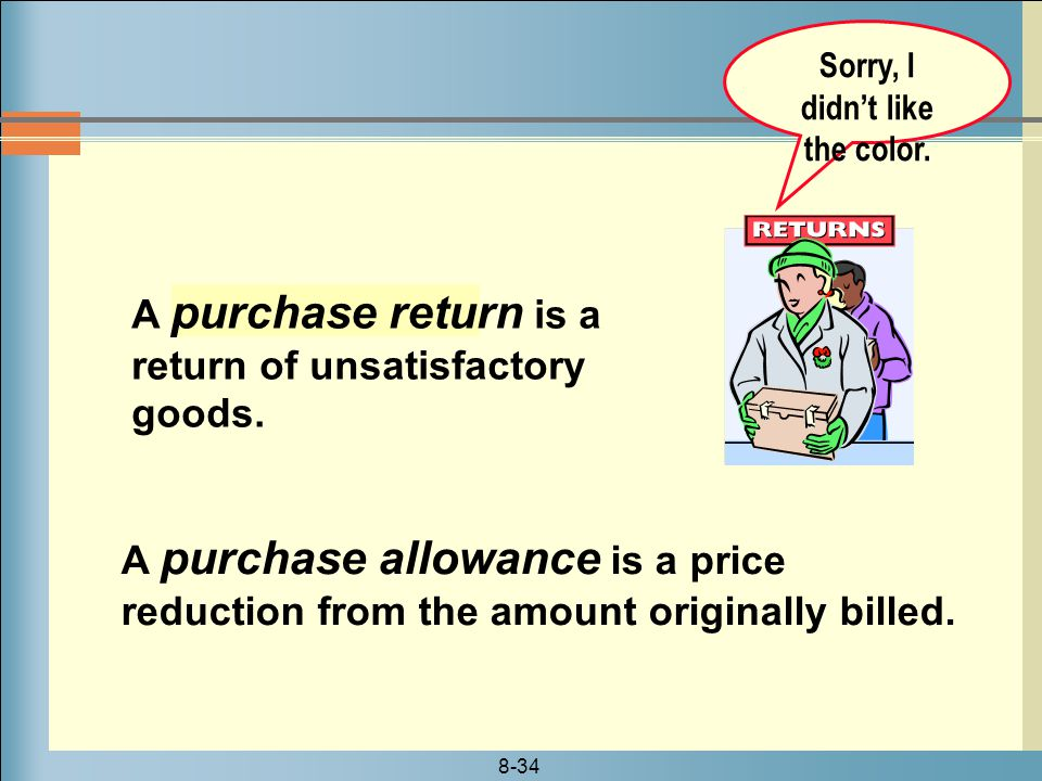 8-34 A purchase return is a return of unsatisfactory goods.