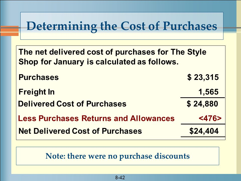 8-42 The net delivered cost of purchases for The Style Shop for January is calculated as follows.