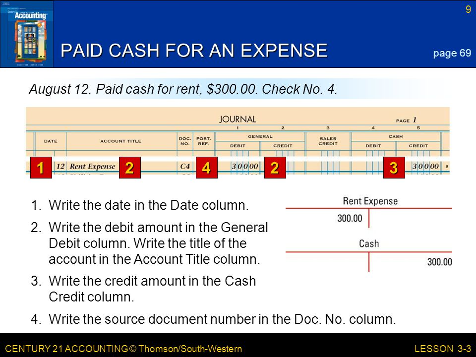 CENTURY 21 ACCOUNTING © Thomson/South-Western 9 LESSON 3-3 PAID CASH FOR AN EXPENSE page 69 August 12.