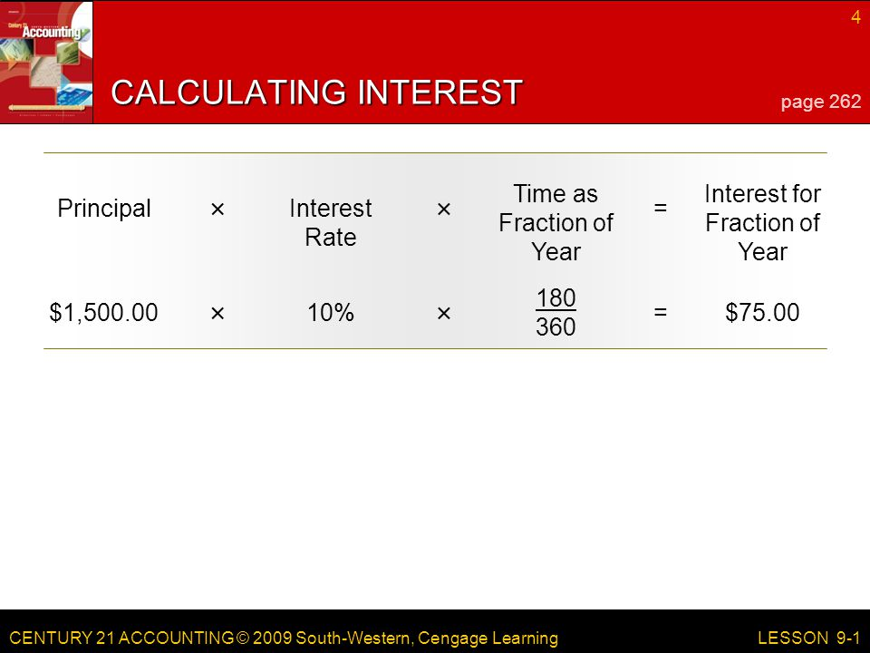 CENTURY 21 ACCOUNTING © 2009 South-Western, Cengage Learning 4 LESSON 9-1 PrincipalInterest Rate Time as Fraction of Year = Interest for Fraction of Year ×× CALCULATING INTEREST page 262 $1, % =$75.00 ××