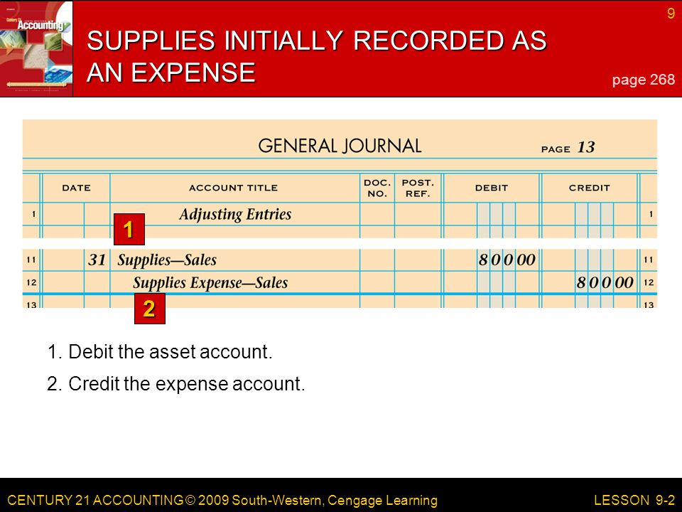 CENTURY 21 ACCOUNTING © 2009 South-Western, Cengage Learning 9 LESSON Debit the asset account.