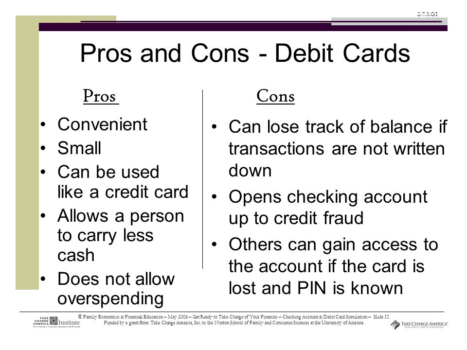 © Family Economics & Financial Education – May 2006 – Get Ready to Take Charge of Your Finances – Checking Account & Debit Card Simulation – Slide 11 Funded by a grant from Take Charge America, Inc.
