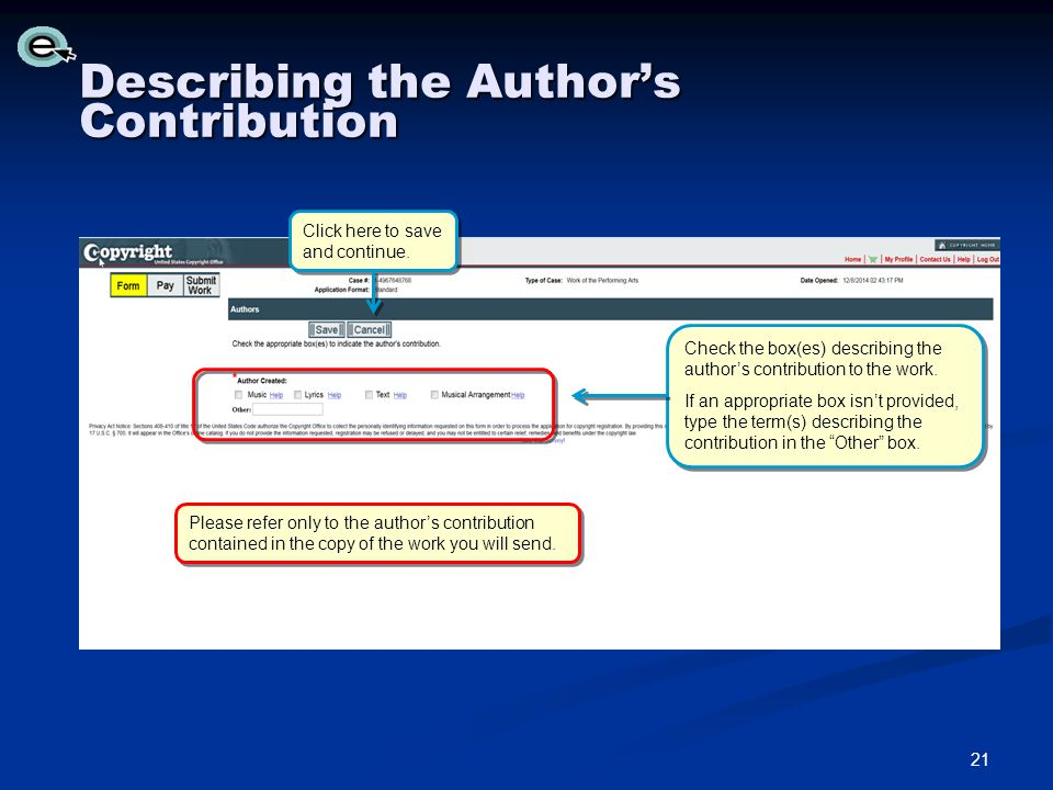 Describing the Author's Contribution Please refer only to the author's contribution contained in the copy of the work you will send.
