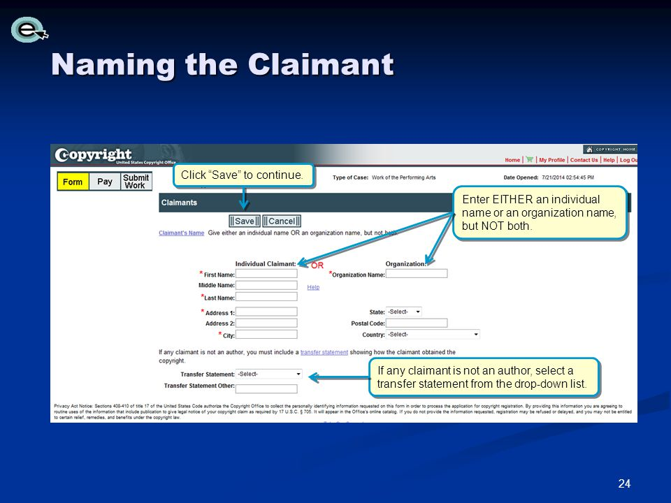 Naming the Claimant Click Save to continue.