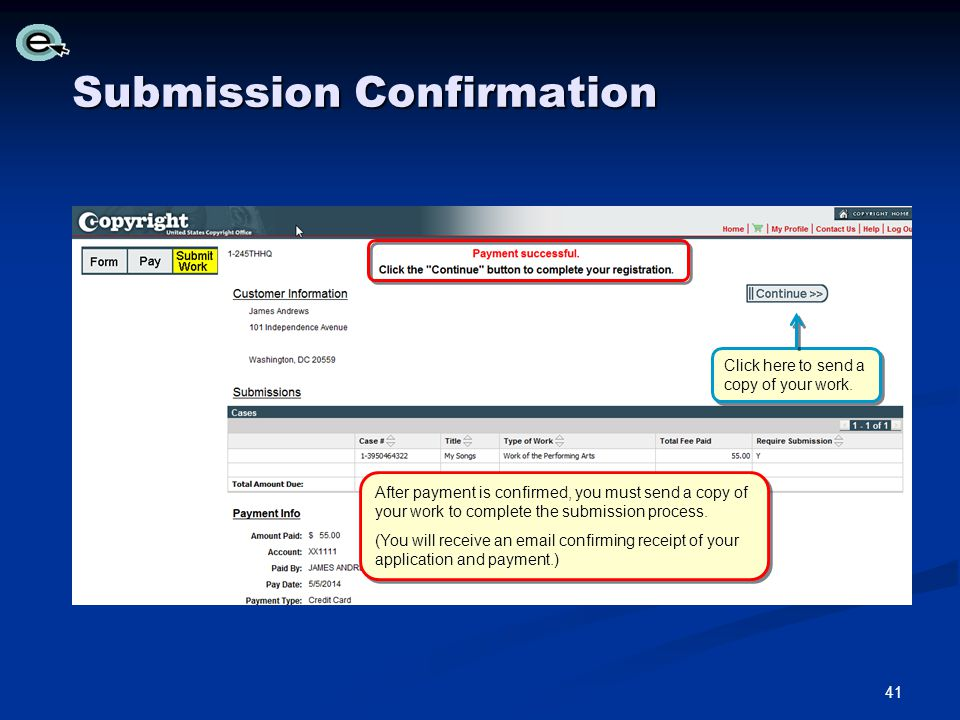 Submission Confirmation After payment is confirmed, you must send a copy of your work to complete the submission process.