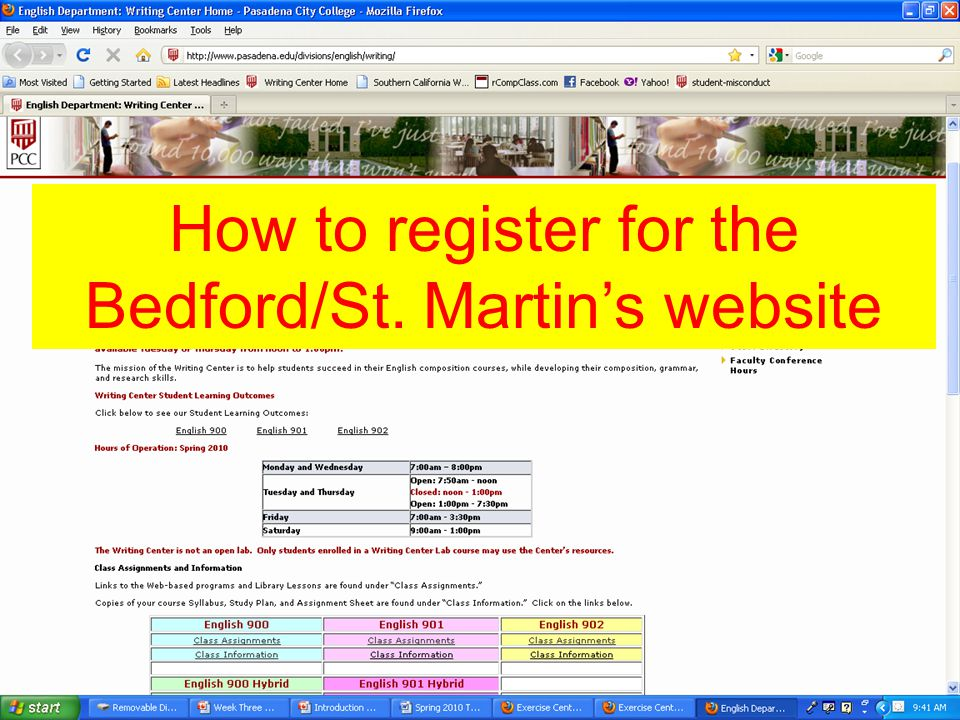 How to register for the Bedford/St. Martin's website