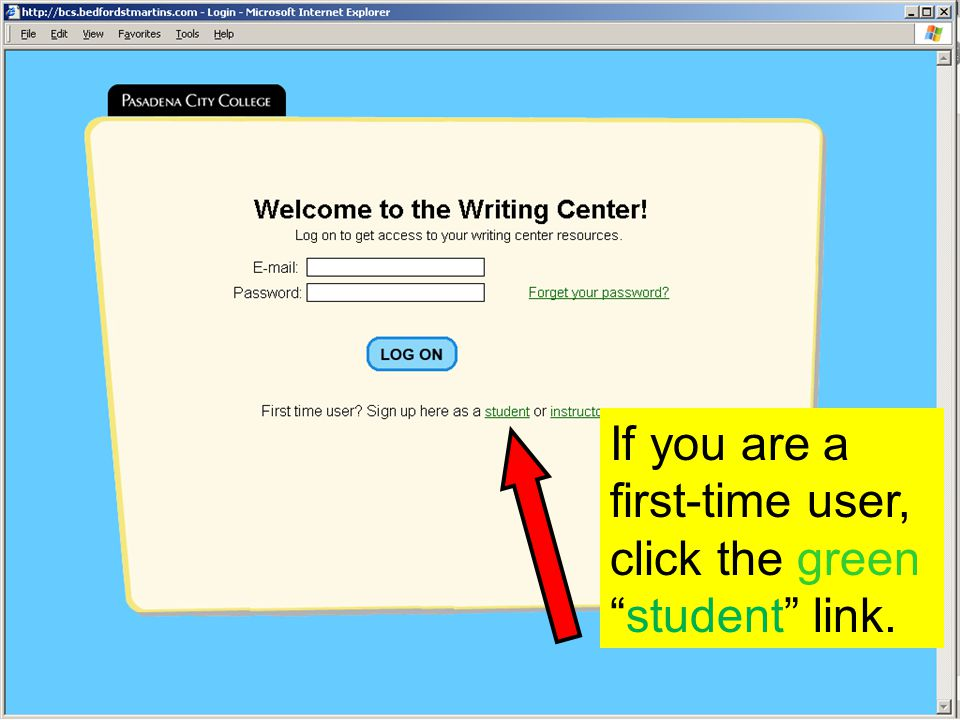 If you are a first-time user, click the green student link.