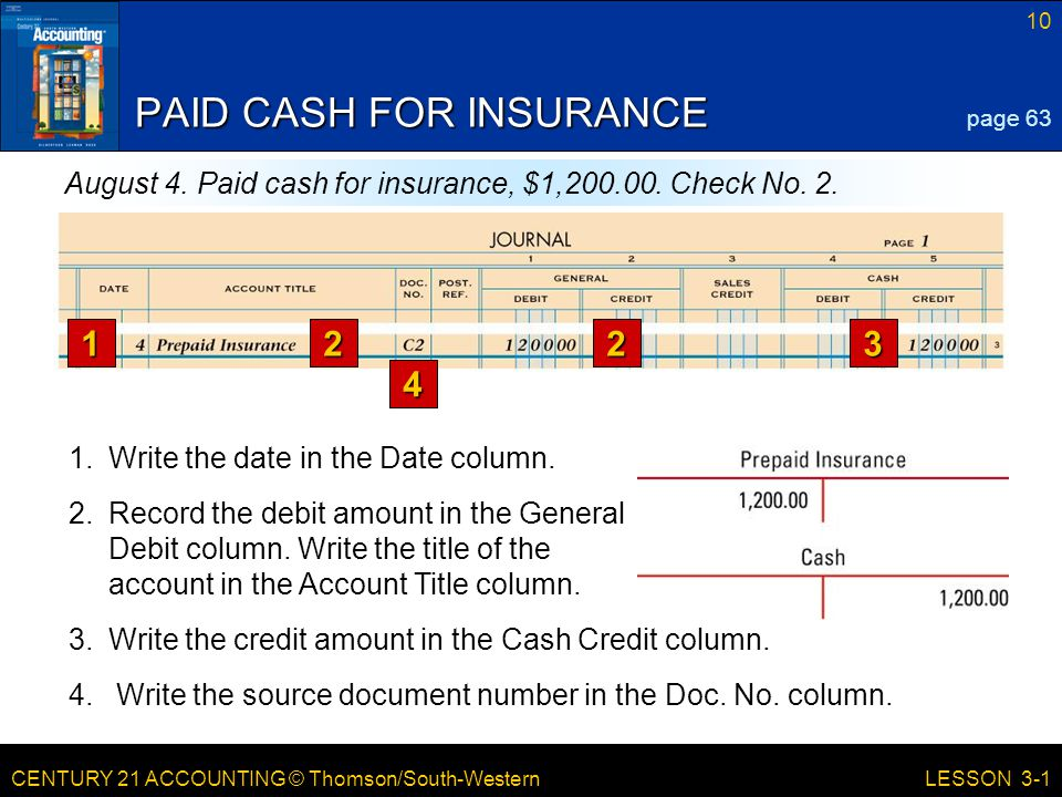 CENTURY 21 ACCOUNTING © Thomson/South-Western 10 LESSON 3-1 PAID CASH FOR INSURANCE page 63 August 4.