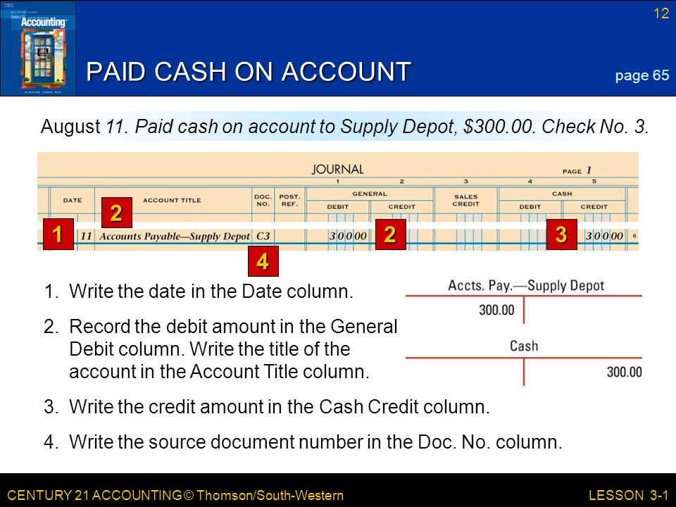 CENTURY 21 ACCOUNTING © Thomson/South-Western 12 LESSON 3-1 PAID CASH ON ACCOUNT page 65 August 11.