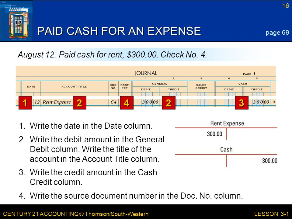 CENTURY 21 ACCOUNTING © Thomson/South-Western 16 LESSON 3-1 PAID CASH FOR AN EXPENSE page 69 August 12.