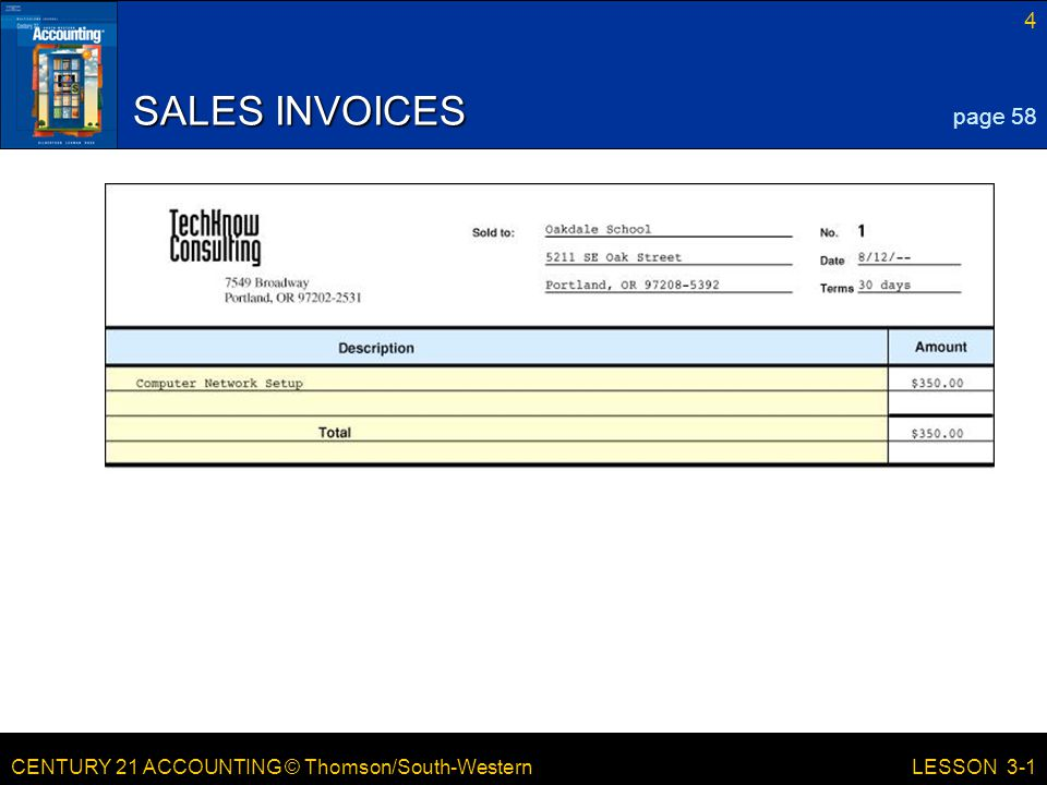 CENTURY 21 ACCOUNTING © Thomson/South-Western 4 LESSON 3-1 SALES INVOICES page 58