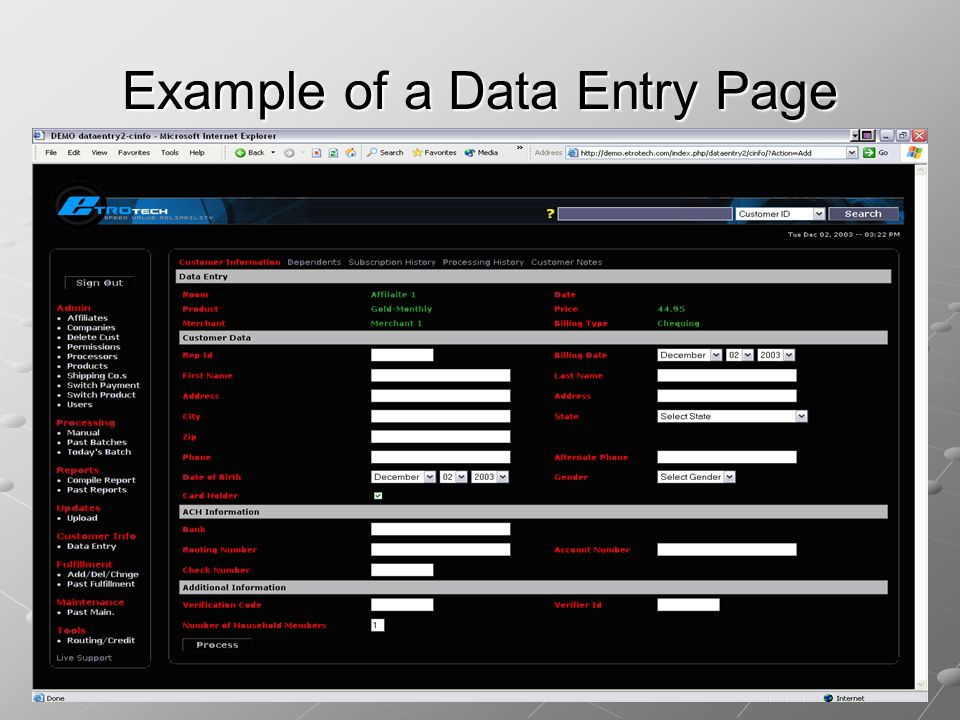 Example of a Data Entry Page