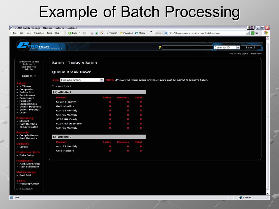 Example of Batch Processing