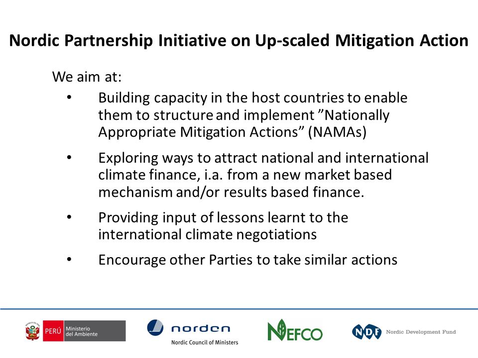 We aim at: Building capacity in the host countries to enable them to structure and implement Nationally Appropriate Mitigation Actions (NAMAs) Exploring ways to attract national and international climate finance, i.a.