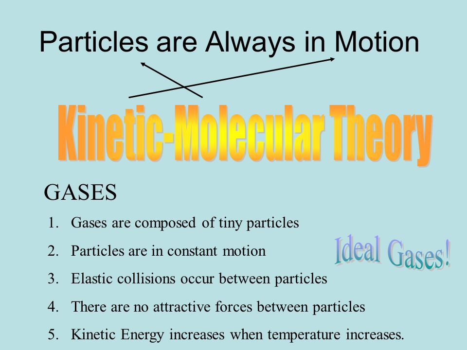 Particles are Always in Motion GASES 1.Gases are composed of tiny particles 2.Particles are in constant motion 3.Elastic collisions occur between particles 4.There are no attractive forces between particles 5.Kinetic Energy increases when temperature increases.