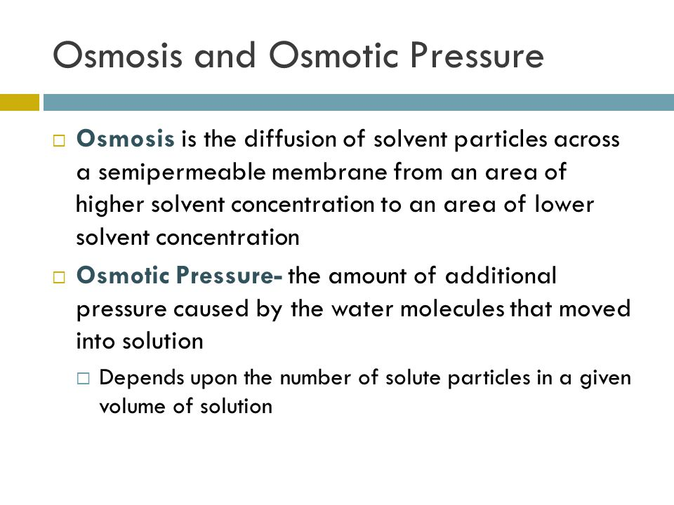 Osmosis and Osmotic Pressure  Osmosis is the diffusion of solvent particles across a semipermeable membrane from an area of higher solvent concentration to an area of lower solvent concentration  Osmotic Pressure- the amount of additional pressure caused by the water molecules that moved into solution  Depends upon the number of solute particles in a given volume of solution