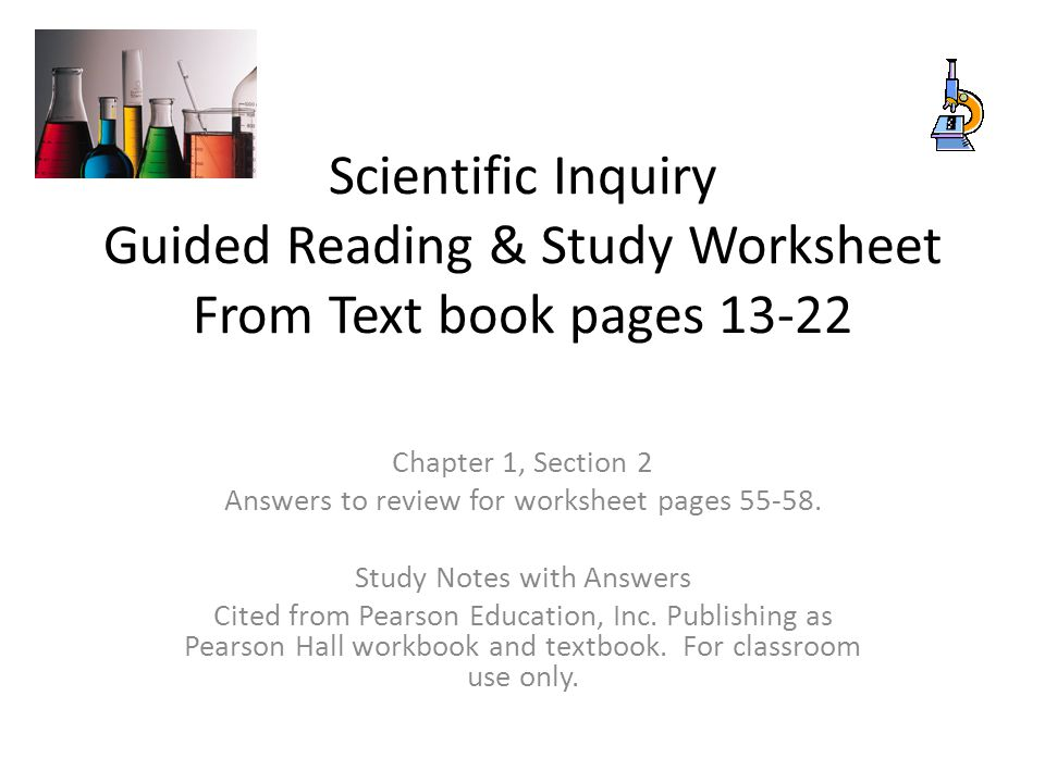 Printables Scientific Inquiry Worksheet scientific inquiry guided reading study worksheet from text book pages 13 22 chapter 1