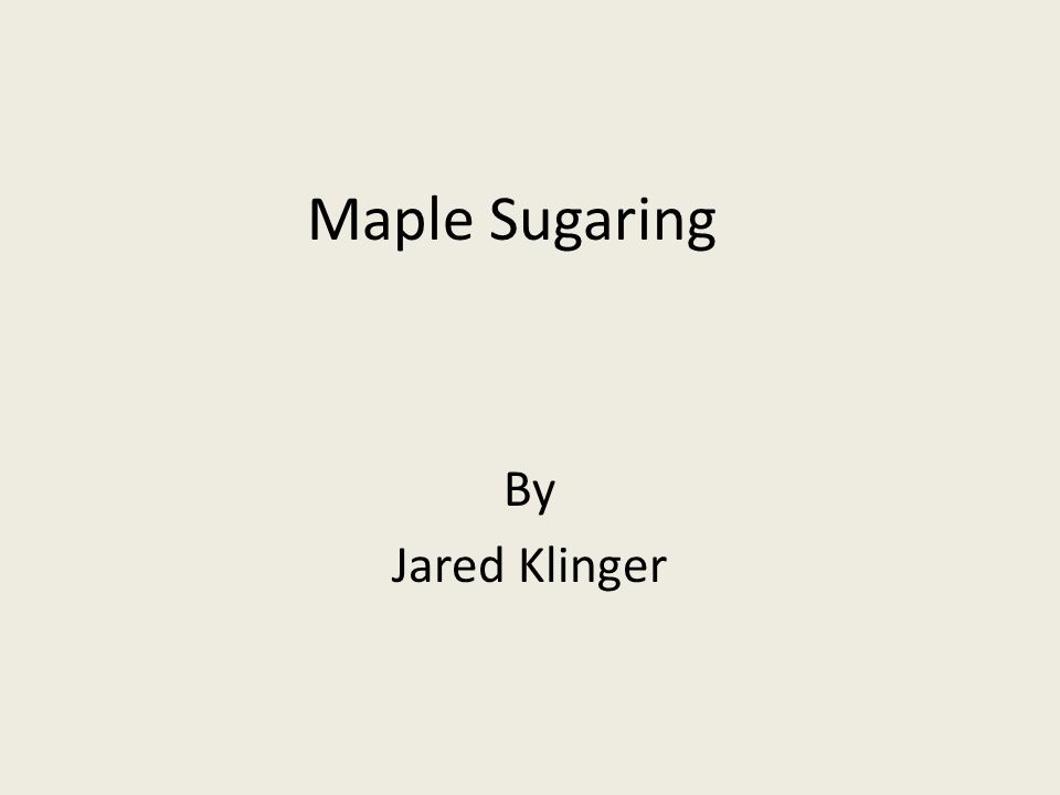 Maple Sugaring By Jared Klinger