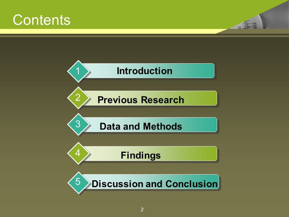 Contents Introduction 1 Previous Research 2 Data and Methods 3 Findings 4 Discussion and Conclusion 5 2