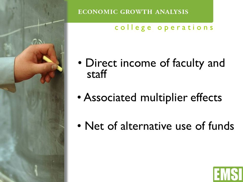 Direct income of faculty and staff Associated multiplier effects Net of alternative use of funds c o l l e g e o p e r a t i o n s