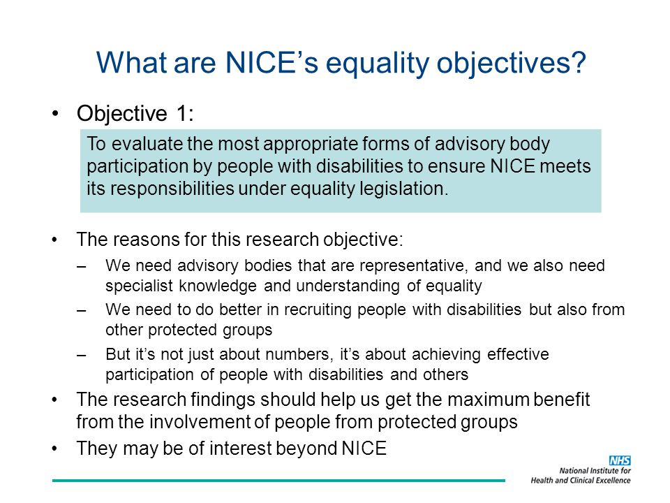 What are NICE's equality objectives.