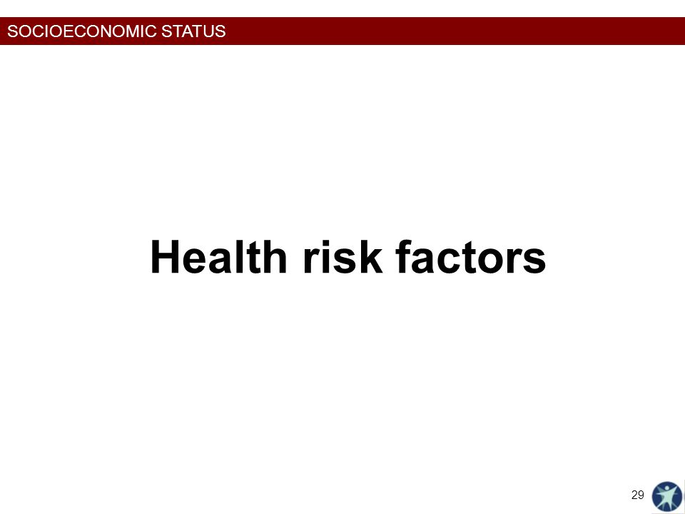 SOCIOECONOMIC STATUS Health risk factors 29