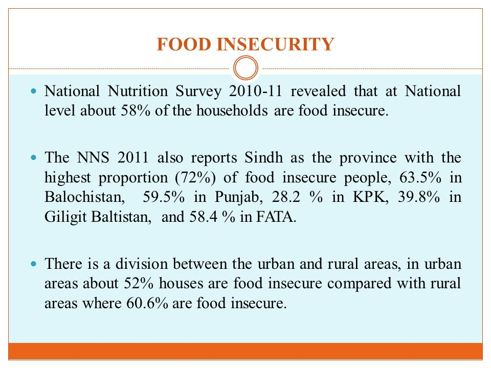FOOD INSECURITY National Nutrition Survey revealed that at National level about 58% of the households are food insecure.
