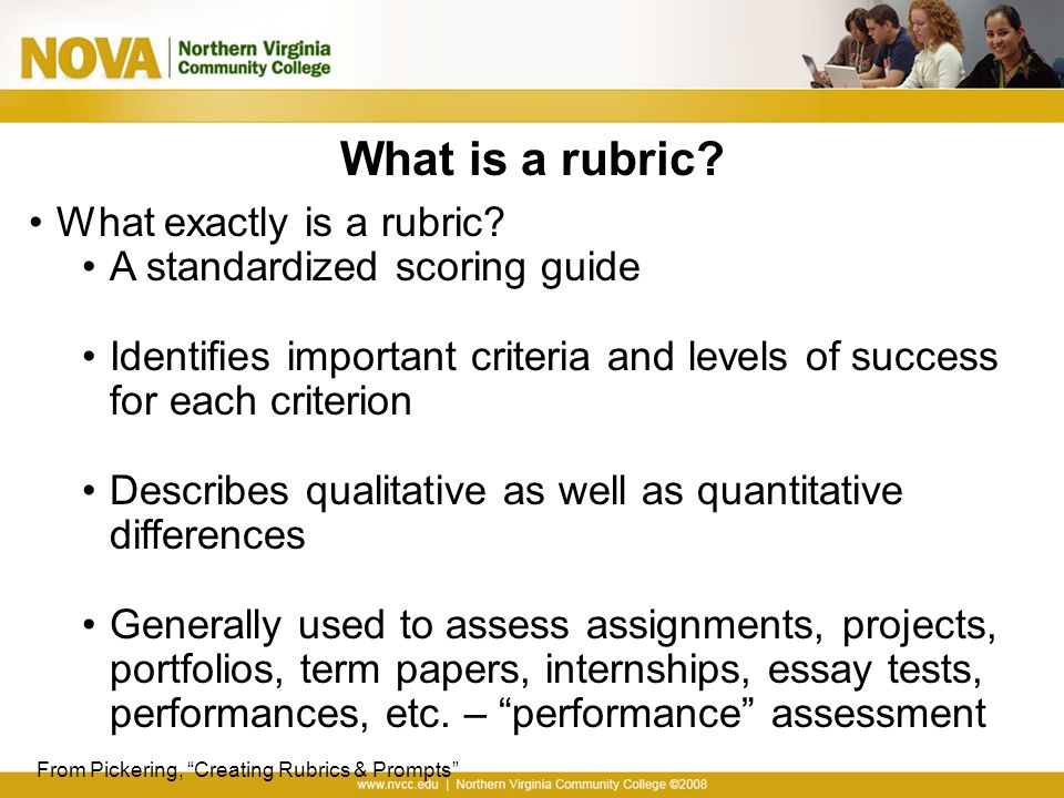 college term paper rubric