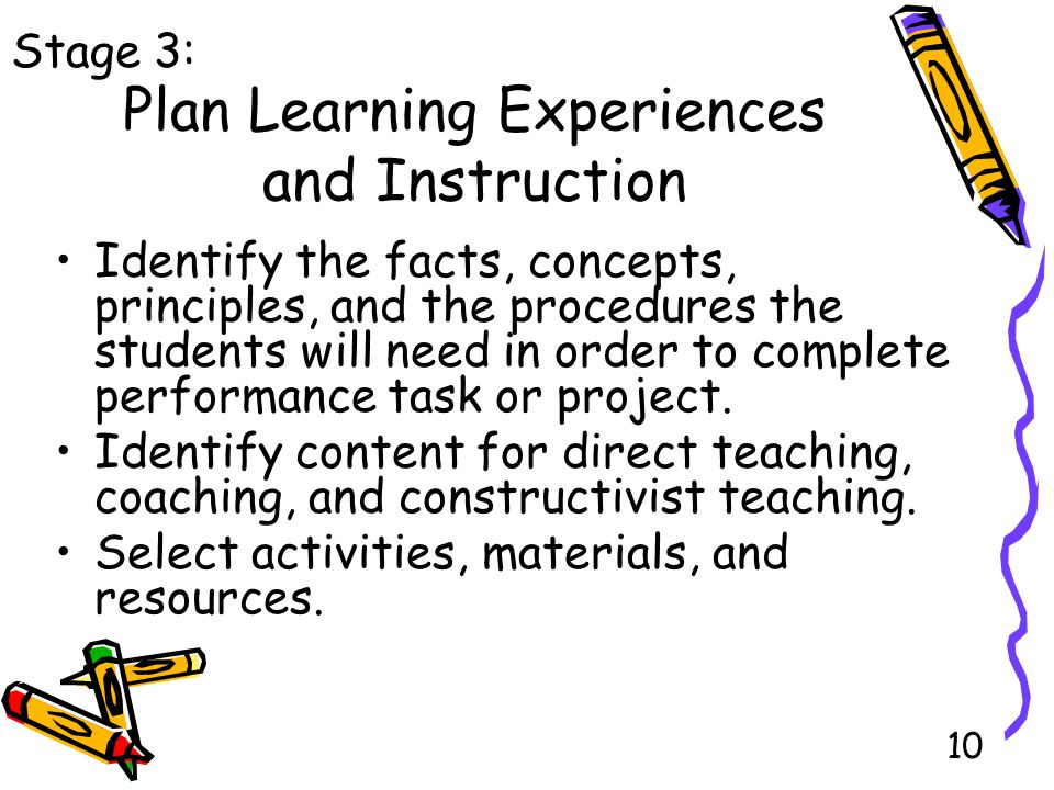 10 Plan Learning Experiences and Instruction Identify the facts, concepts, principles, and the procedures the students will need in order to complete performance task or project.