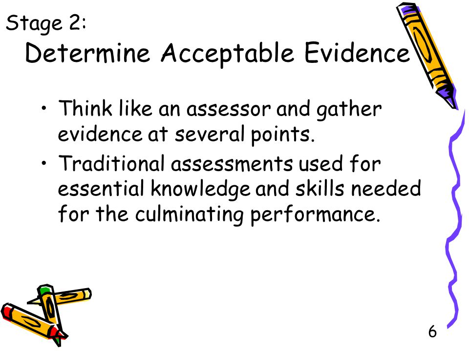 6 Determine Acceptable Evidence Think like an assessor and gather evidence at several points.